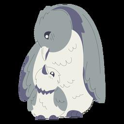 Ilustración de pingüinos de mamá y bebé animales