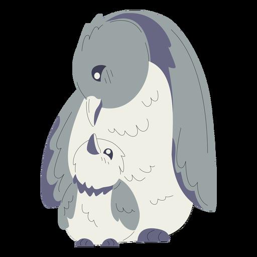 Animales mamá y bebé pingüinos ilustración