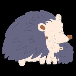 Ilustração de animais mãe e porco-espinho bebê