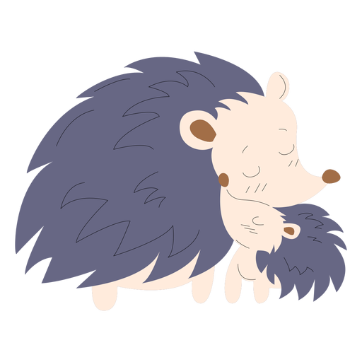 Animals mom and baby porcupine illustration