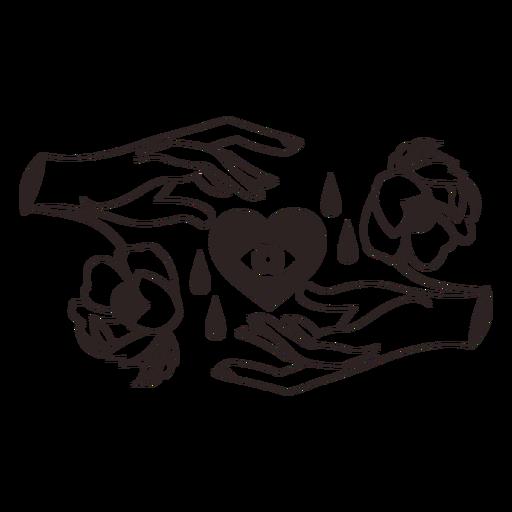 Anti valentines sticker hands heart Transparent PNG