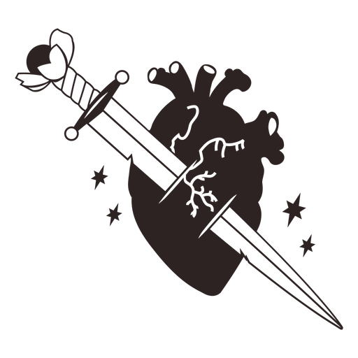 Anti valentines sticker knife heart