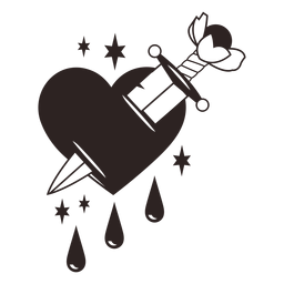 Adesivo anti-dia dos namorados em forma de coração com faca
