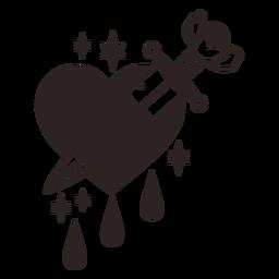 Anti Valentinstag Aufkleber Messer Herz Tropfen