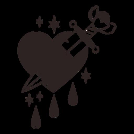 Anti valentines sticker knife heart drops