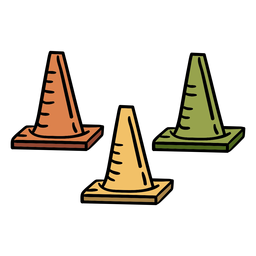 Athletics cones equipment hand drawn