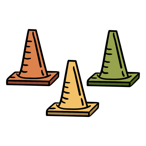 Athletics cones equipment hand drawn
