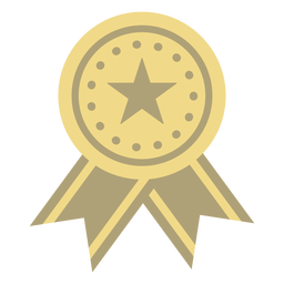 Award badge circle star flat