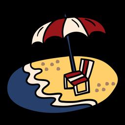 Mão de cadeira de dossel de praia desenhada