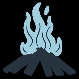 Ilustración de hoguera doodle azul
