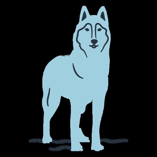 Blue doodle wolf illustration