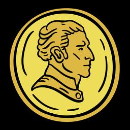 Coin uruguay hand drawn