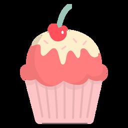 Cobertura de cereja de cobertura de cupcake plana