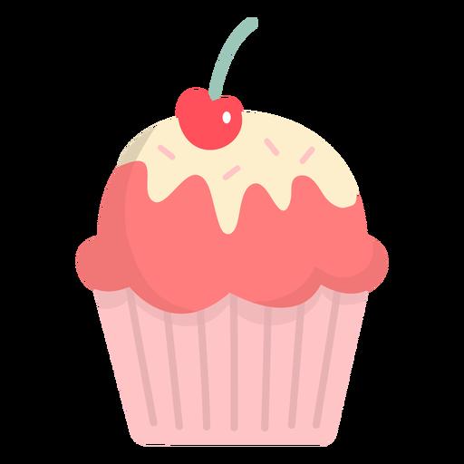 Cupcake glaze cherry topping flat Transparent PNG
