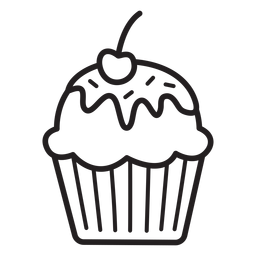Cupcake glaze cherry topping stroke