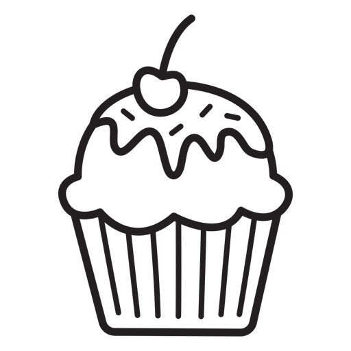 Cupcake glaze cherry topping stroke Transparent PNG