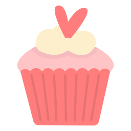 Cupcake con forma de corazón plano