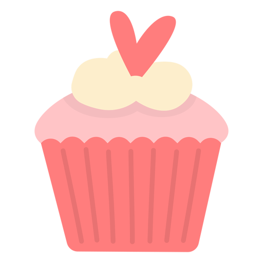 Cupcake heart shaped topping flat Transparent PNG