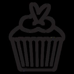 Herzförmiger Belag des Cupcake