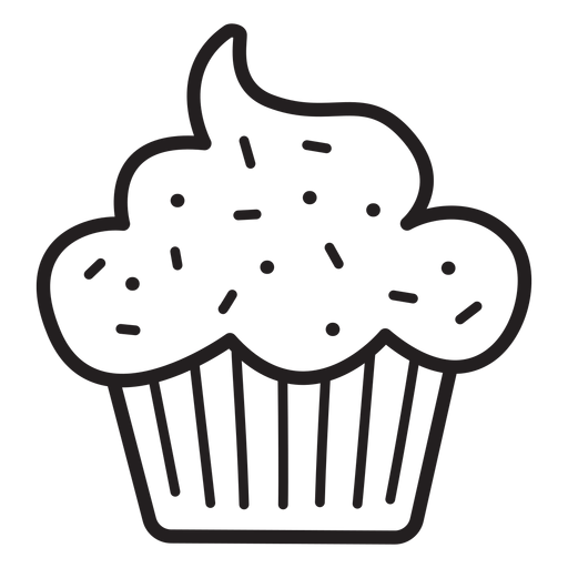 Cupcake sprinkles topping stroke Transparent PNG