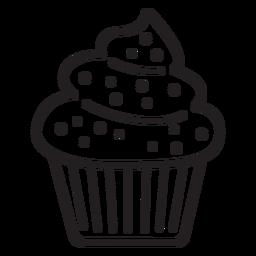 Cupcake-Streusel wirbeln über einem großen Strich