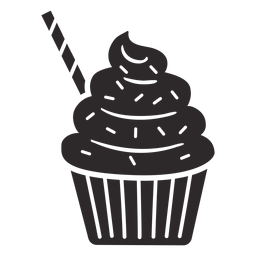 Cupcake rocía remolino topping paja