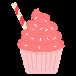 Cupcake polvilhado com redemoinho de palha de cobertura plana