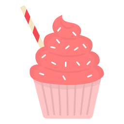 Cupcake sprinkles swirl topping straw flat