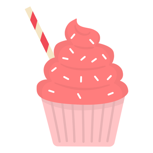 Cupcake sprinkles swirl topping straw flat Transparent PNG