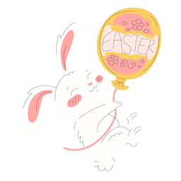 Cute rabbit easter balloon illustration