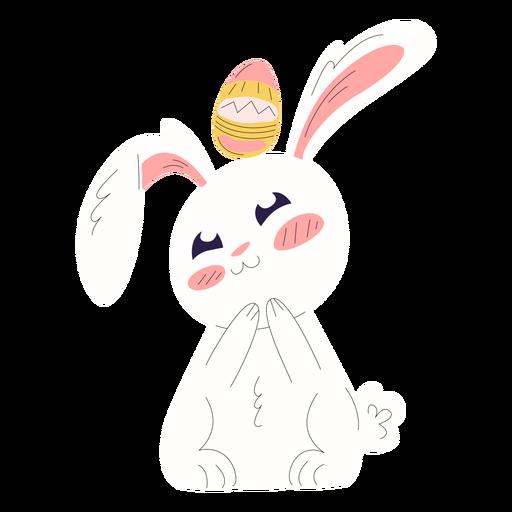 Cute rabbit easter overhead egg illustration