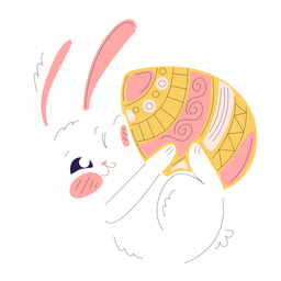 Cute rabbit easter playful illustration