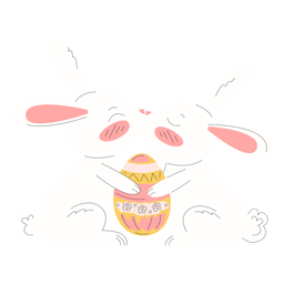 Cute rabbits easter tugging illustration