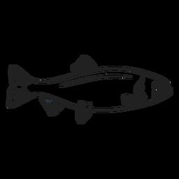 Doodle de trazo de pescado