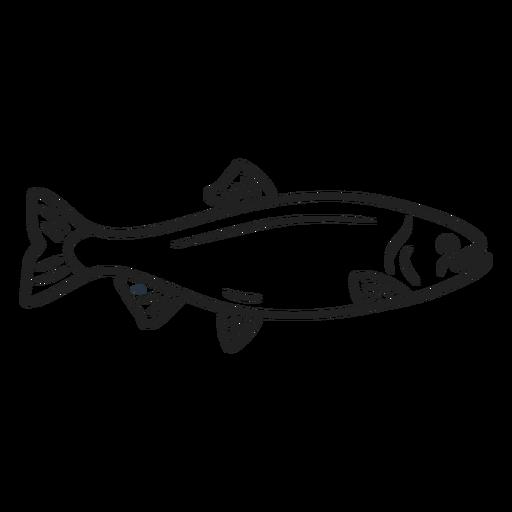 Trazo de pescado Doodle Transparent PNG