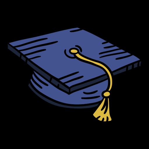 Graduation cap element hand drawn