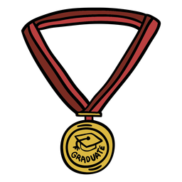 Graduation medal hand drawn