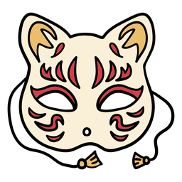 Japan cat mask hand drawn