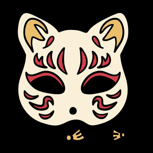 Dibujado a mano m?scara de gato de jap?n