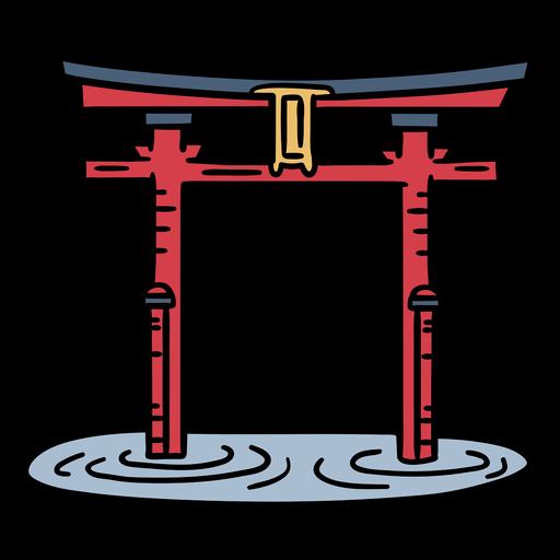 Dibujado a mano puerta de japón troii