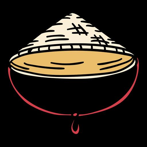 Sombrero de jingasa de japón dibujado a mano