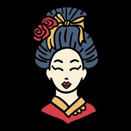 Vestido de kimono de Japón dibujado a mano