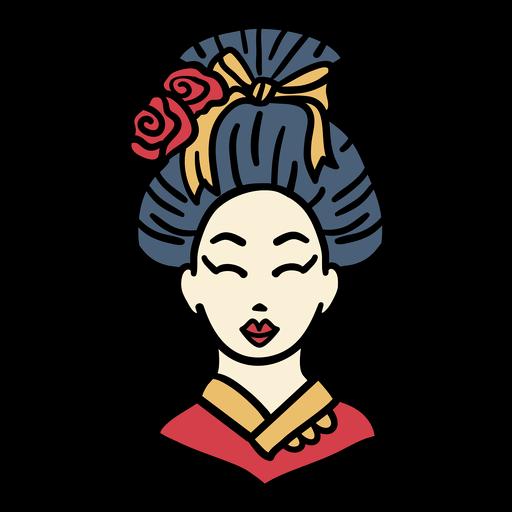 Vestido kimono de japón dibujado a mano