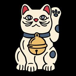 Dibujado a mano muñeca Japón gato maneki neko