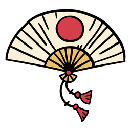 Japan sensu folding fan hand drawn