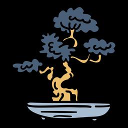 Dibujado a mano Japón árbol bonsai