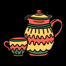 Dibujado a mano taza de tetera