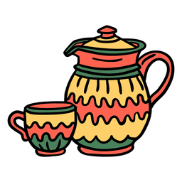 Taza de caldera dibujada a mano