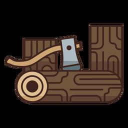 Icono de registros de hacha de leñador