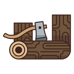 Lumberjack axe logs icon